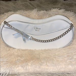 Dior White Beauty Bag with chain handle